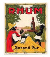 Etiquette   RHUM  Garanti Pur - L'homme Lit L'écho De La Martinique - Imprimeur H.Schoepfer Vve G.Duval & Fils - - Rhum