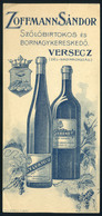 SZÁMOLÓ CÉDULA  Régi Reklám Grafika , Versec , Zoffmann Borkereskedő  /  Vintage Adv. Graphics BAR TAB, Versec, Zoffmann - Alte Papiere