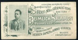 SZÁMOLÓ CÉDULA  Régi Reklám Grafika , Heimlich Salamon Czipő Raktár  /  COUNTING CARD Vintage Adv. Graphics, Salamon Hei - Alte Papiere