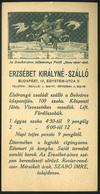 SZÁMOLÓ CÉDULA  Régi Reklám Grafika , Erzsébet Királyné Szálló  /  Vintage Adv. Graphics BAR TAB, Hotel Queen Elisabeth - Alte Papiere