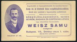 SZÁMOLÓ CÉDULA  Régi Reklám Grafika , Weisz Samu, Dohány U.1.   /  Vintage Adv. Graphics BAR TAB, Samu Weisz Dohány St.  - Alte Papiere