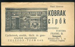 SZÁMOLÓ CÉDULA 1910-20. Cca. Régi Reklám Grafika , Szeged, Kobrak Cipő, Menetrenddel !!  /  Vintage Adv. Graphics BAR TA - Alte Papiere