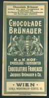 SZÁMOLÓ CÉDULA , Régi Reklám Grafika , Wien Chocolade Brünaer  /  Vintage Adv. Graphics BAR TAB, Vienna Chocolate Brünae - Alte Papiere