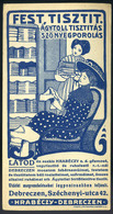 SZÁMOLÓ CÉDULA , Régi Reklám Grafika , Debrecen, Hrabéczy  /  Vintage Adv. Graphics BAR TAB, Debrecen, Hrabéczy - Alte Papiere