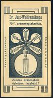 SZÁMOLÓ CÉDULA , Régi Reklám Grafika , Wolfram Izzó  /  Vintage Adv. Graphics BAR TAB, Tungsten Bulb - Alte Papiere