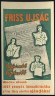 SZÁMOLÓ CÉDULA , Régi Reklám Grafika , Friss Ujság  /  Vintage Adv. Graphics BAR TAB, Fresh Newspaper - Alte Papiere