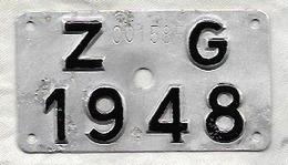 Velonummer Zug ZG 48 - Plaques D'immatriculation