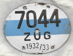 Velonummer Zug ZG 32/33 - Plaques D'immatriculation