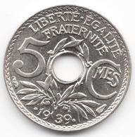5 Centimes Lindauer Maillechort 1939 - Frankreich
