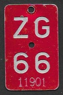 Velonummer Zug ZG 66 - Plaques D'immatriculation