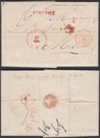 """BELGIQUE LETTRE DE LIEGE EN PORT PAYE """"P.B.T.F ET MAN """"FRANCO MONS"""" 27/10/1839 VERS MILAN (DD) DC-2300 - 1830-1849 (Belgique Indépendante)"""