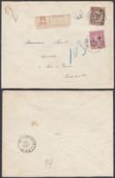 BELGIQUE COB 46+49 SUR LETTRE RECOMMANDE DE MONS 26/02/1892 VERS BRUXELLES (DD) DC-2310 - 1884-1891 Leopold II