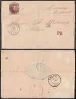BELGIQUE COB 5 MARGE SUR LETTRE DE BRUXELLES 19/06/1855 VERSO ( EST N 3 )  VERS PAYS-BAS(DD) DC-2312 - 1849-1850 Medallions (3/5)