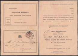 BELGIQUE COB 28 SUR CARTE ANNONCE OBL IMPRIME DE BRUXELLES 1881 VERS GAND (DD) DC-2316 - 1869-1883 Léopold II
