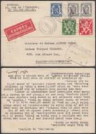 BELGIQUE COB426+673 2+675+680 SUR LETTRE EXPRES DE BRUXELLES 20/08/1945 VERS FRASNES  (DD) DC-2323 - 1929-1937 León Heráldico