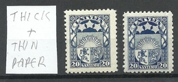 LETTLAND Latvia 1923 Michel 95 Thick + Thin Paper Type * - Letland