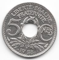 5 Centimes Lindauer Maillechort 1938 - Frankreich