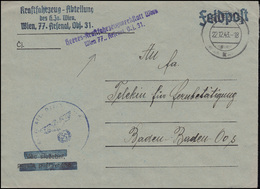 Feldpost Heeres-Kraftfahrzeugwerkstatt Wien Arsenal 31 Brief WIEN 77 - 22.12.43 - Occupation 1938-45
