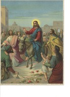Oleografia Cromolitografia Gesù Entra Con Gloria In Gerusalemme Fine 1800 - Litografia