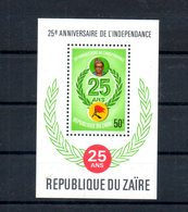 Zaire. Bloc Feuillet. 25e Anniversaire De L'indépendance - Zaïre