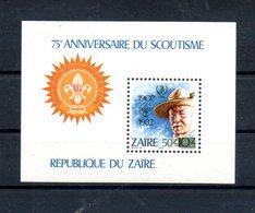 Zaire. Bloc Feuillet. 75e Anniversaire Du Scoutisme - Zaïre