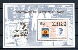 Zaire. Bloc Feuillet. Centenaire De La Poste Au Zaire - Zaïre