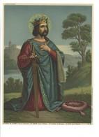 Oleografia Cromolitografia San Luigi Re Di Francia Fine 1800 - Lithographies