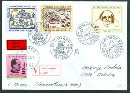 Croatia 1993 FDC Krleza Bettle Sisak Krbava Turks Stepinac Express Worth Letter - Croatia