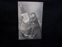 Femme Peintre . Autoportrait Avec Une Glace . Beau Chevalet .Palette . Pinceaux. Avant 1903 .H . Manuel .2 Scans - Arts