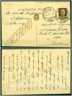 Z712 ITALIA RSI 1943 Cartolina Postale 30 C. VEIII, Fil. C98B (stampa Su Carta Ricongiunta) + C98c (taglio Spostato - 4. 1944-45 Repubblica Sociale