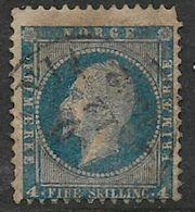 Norway, 1856, 4s, Blue, Used - Norway