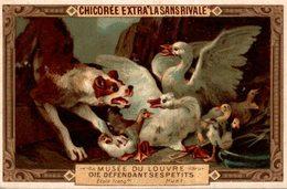 CHROMO CHICOREE LA SANS RIVALE HAQUET LILLE   MUSEE DU LOUVRE OIE DEFENDANT SES PETITS - Cromos