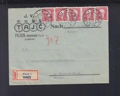 Czechoslovakia Registered Cover Plzen To Switzerland 1934 - Czechoslovakia