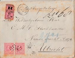 N° 21 En Paire / L. RECOMMANDEE De DORDRECHT / 4.5.86-> Utrecht /6.5 - 1852-1890 (Guillaume III)