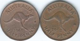 Australia - Elizabeth II - ½ Penny - 1953 (KM49) 1961 (KM61) - Monnaie Pré-décimale (1910-1965)