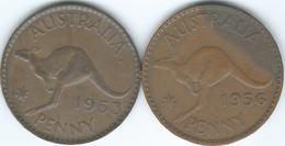 Australia - Elizabeth II - Penny - 1953 (KM50) & 1956 (KM56) - Monnaie Pré-décimale (1910-1965)