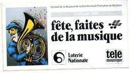 Autocollant Sticker Fête Faites De La Musique 1985 Reclame Loterie Nationale Telemoustique  Muziek Music - Autocollants