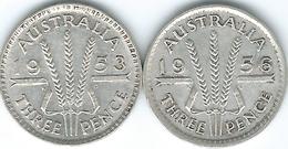 Australia - Elizabeth II - Three Pence - 1953 (KM51) & 1956 (KM57) - Monnaie Pré-décimale (1910-1965)