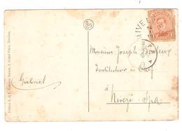 PR6361/ TP 135 S/CP Nivelles Place De La Gare C.Fortune Nivelles 14/1/19 V.Spa C.d'arrivée Taches - Fortune Cancels (1919)
