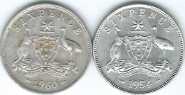 Australia - Elizabeth II - Six Pence - 1954 (KM52) & 1960 (KM58) - Monnaie Pré-décimale (1910-1965)