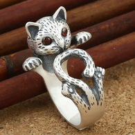 BAGUE CHATON YEUX ROUGES REGLABLE  3 EUROS - Rings