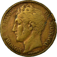 Monnaie, Monaco, Honore V, 5 Centimes, Cinq, 1837, Monaco, TB+, Cast Brass - Monaco
