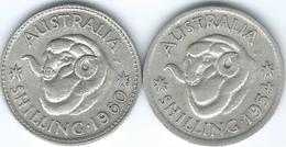 Australia - Elizabeth II - Shilling - 1954 (KM53) & 1960 (KM59) - Monnaie Pré-décimale (1910-1965)