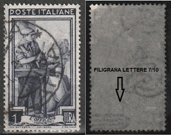 Filigrana Lettere Bassa 7/10 - 1 Lira Ruota 1° SA Italia Al Lavoro - 6. 1946-.. Repubblica