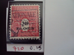 """A Partir De 1945 - Timbre Oblitéré N°710   """"Deuxième Série ARC DE TRIOMPHE, 2.40f Rouge""""   Net  0.15 - 1944-45 Arc De Triomphe"""