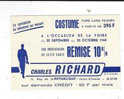 Costume Charles Richard Rue République St Etienne Saint 42  Carton Remise - Werbung
