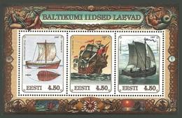 ESTONIA 1997 BALTIC SHIPS MARINE LIFE MERMAIDS SEAHORSE NEPTUNE SHELL SHEET MNH - Estonia
