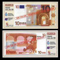 "Test Note ""10 EURO Valladolid Spain"" 1998, Paper, 138 X 68, RRRRR, UNC - EURO"