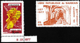 Rarement Proposés: Timbre De La Libre République Du Saugeais Et Non-émis Franche-Comté 1977 - Errors & Oddities