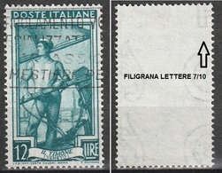 Filigrana Lettere Alta 7/10 - 12 Lire Ruota 3° DA Italia Al Lavoro - 6. 1946-.. Repubblica